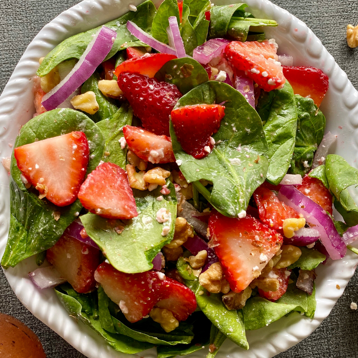 Spinach Strawberry And Walnut Salad Pinch Of Wellness